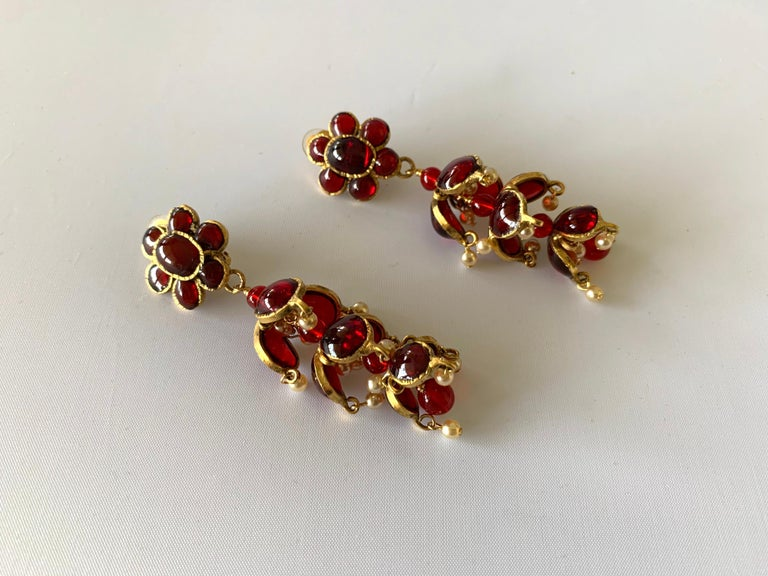 Vintage Chanel Ruby and Pearl Mughal Statement Earrings For Sale 1