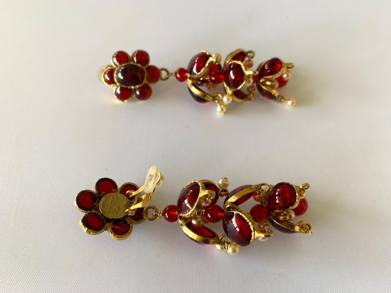 Vintage Chanel Ruby and Pearl Mughal Statement Earrings For Sale 2