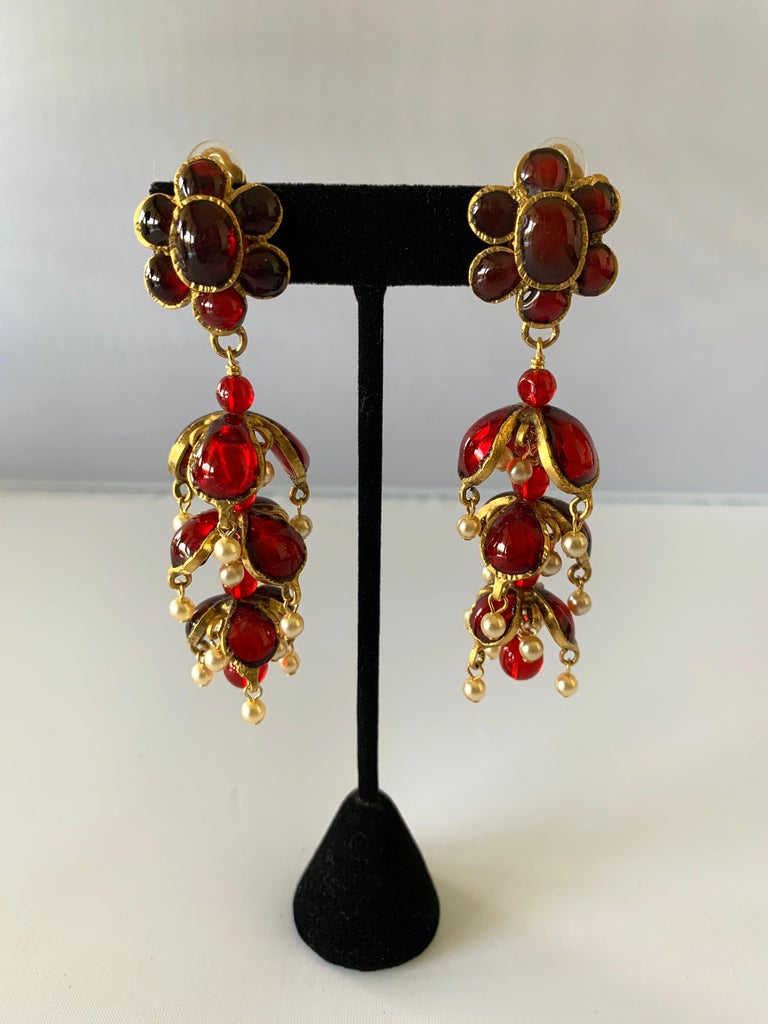 Vintage Chanel Ruby and Pearl Mughal Statement Earrings For Sale 3