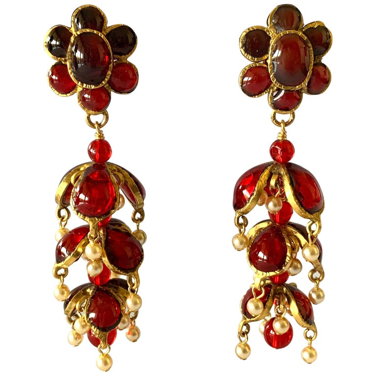 Vintage Chanel Ruby and Pearl Mughal Statement Earrings For Sale
