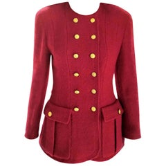 Vintage Chanel Ruby Red (24) 18K Gold Buttons Tweed Jacket FR 36/ US 2 4