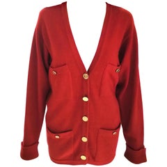Vintage Chanel Ruby Red & Gold 100% Cashmere Sweater Cardigan FR 38/ US 4 6