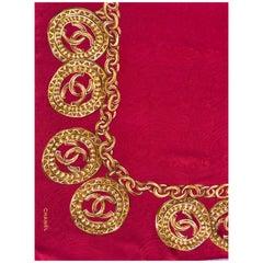 Vintage Chanel Scarf red silk 80X80 cm