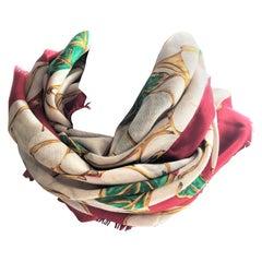 Vintage Chanel scarf silk wool Size 130 x 130 cm