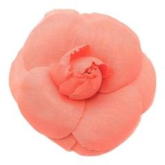 Vintage Chanel Silk Camellia Flower Corsage Brooch 1980s