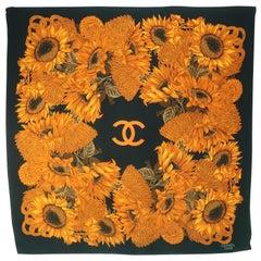 Vintage Chanel Silk Logo Floral Sunflowers Scarf