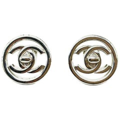 Vintage Chanel Silver Turnlock Cc Logo Earrings 1997