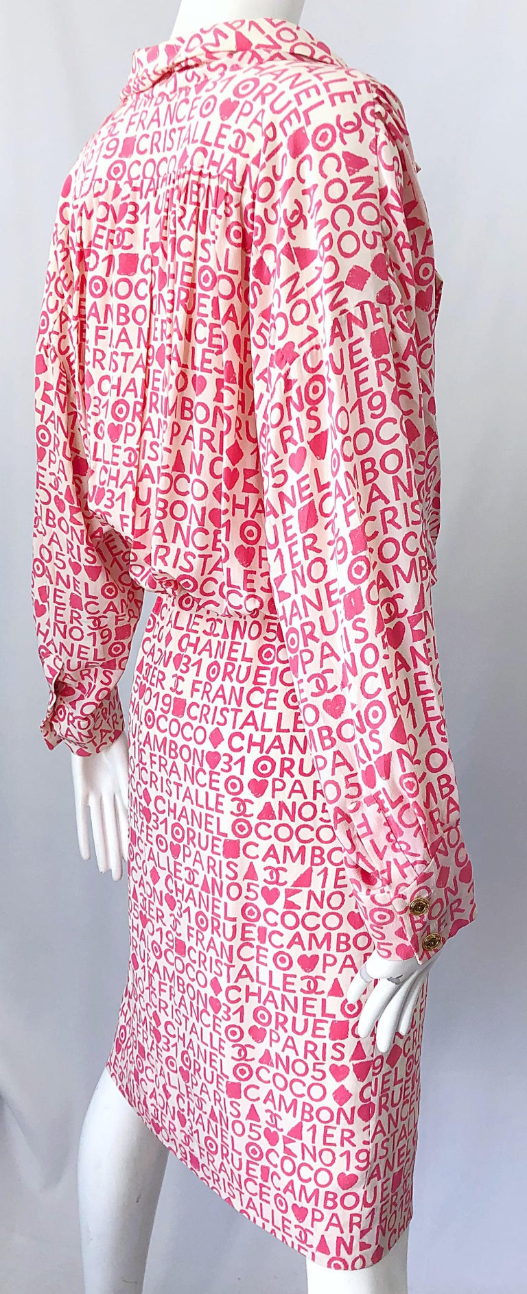 Vintage Chanel Size 44 / 14 Pink and White Logo Print 1980s Silk 80s Shirt Dress For Sale 5