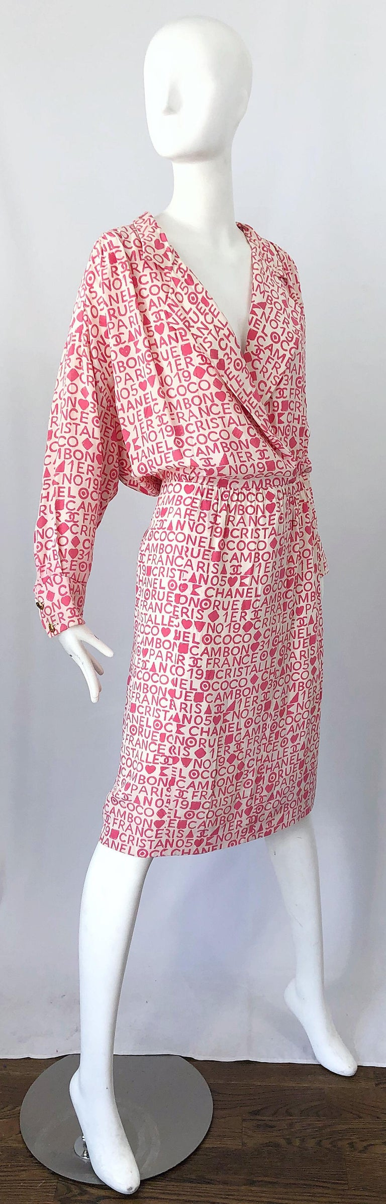 Vintage Chanel Size 44 / 14 Pink and White Logo Print 1980s Silk 80s Shirt Dress For Sale 6