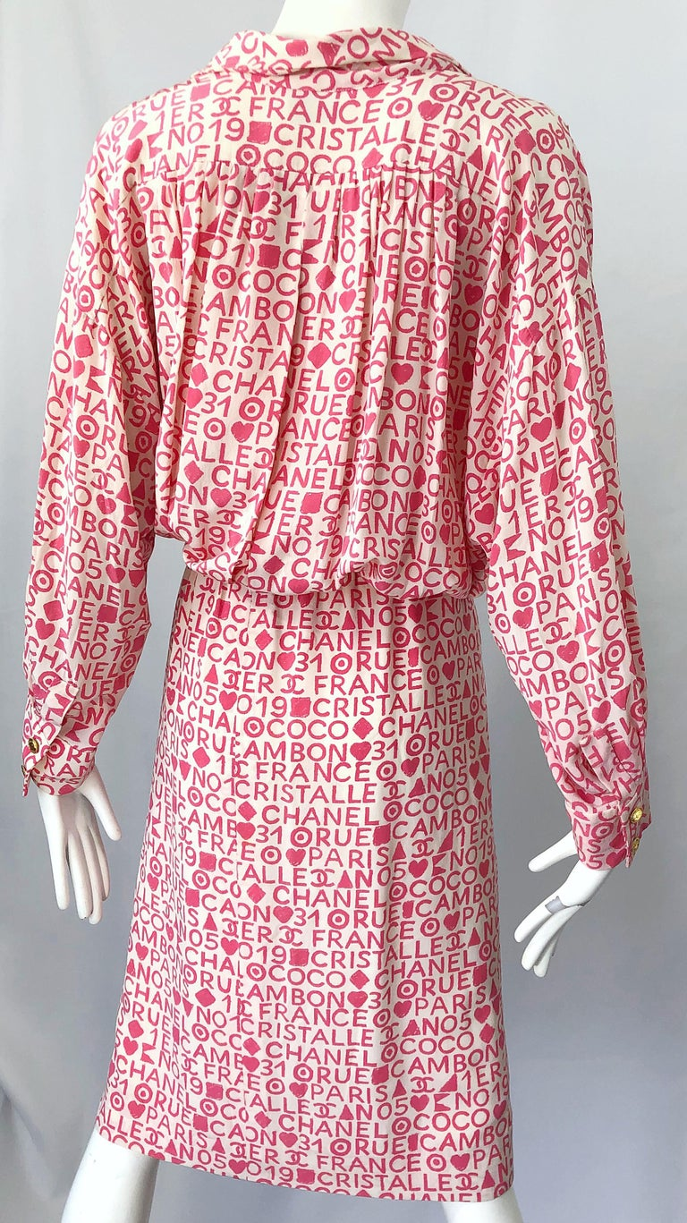 Vintage Chanel Size 44 / 14 Pink and White Logo Print 1980s Silk 80s Shirt Dress For Sale 7