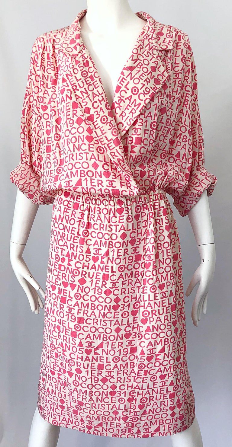 Vintage Chanel Size 44 / 14 Pink and White Logo Print 1980s Silk 80s Shirt Dress For Sale 10