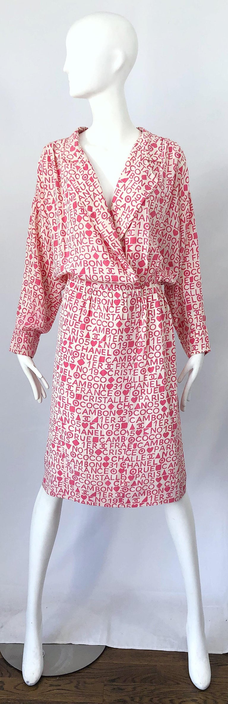 Vintage Chanel Size 44 / 14 Pink and White Logo Print 1980s Silk 80s Shirt Dress For Sale 11