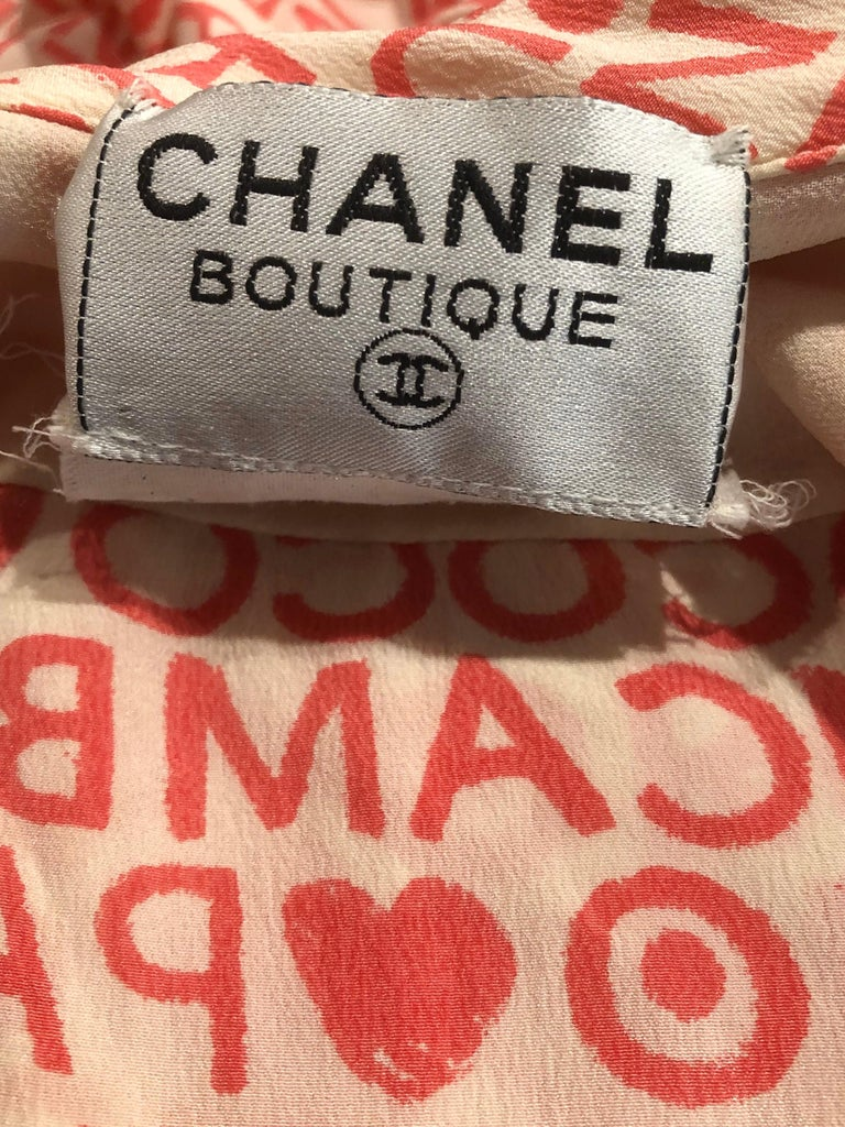 Vintage Chanel Size 44 / 14 Pink and White Logo Print 1980s Silk 80s Shirt Dress For Sale 12