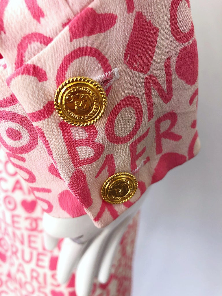 Vintage Chanel Size 44 / 14 Pink and White Logo Print 1980s Silk 80s Shirt Dress In Excellent Condition For Sale In Chicago, IL