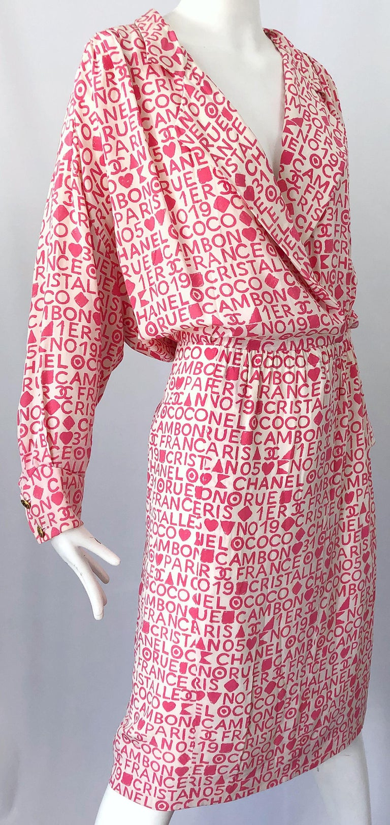 Vintage Chanel Size 44 / 14 Pink and White Logo Print 1980s Silk 80s Shirt Dress For Sale 1