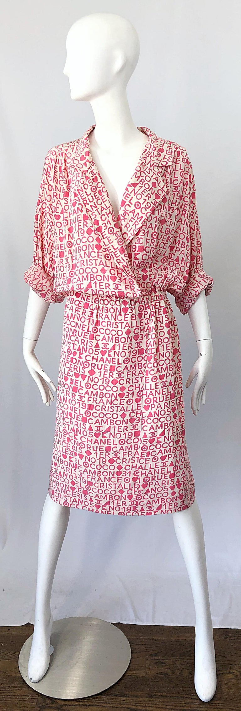 Vintage Chanel Size 44 / 14 Pink and White Logo Print 1980s Silk 80s Shirt Dress For Sale 2