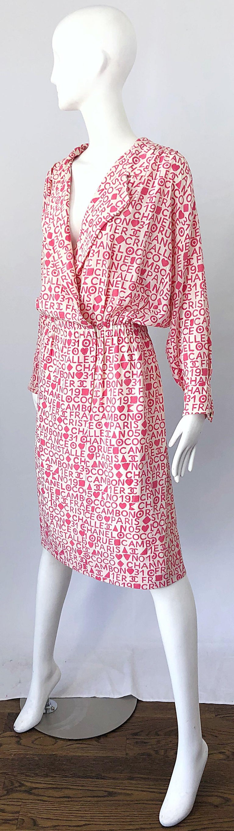 Vintage Chanel Size 44 / 14 Pink and White Logo Print 1980s Silk 80s Shirt Dress For Sale 3