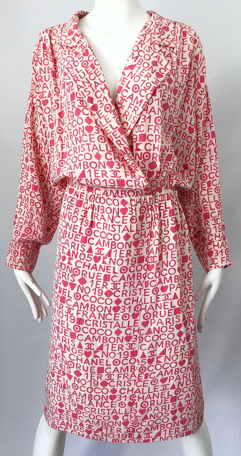 Vintage Chanel Size 44 / 14 Pink and White Logo Print 1980s Silk 80s Shirt Dress For Sale 4