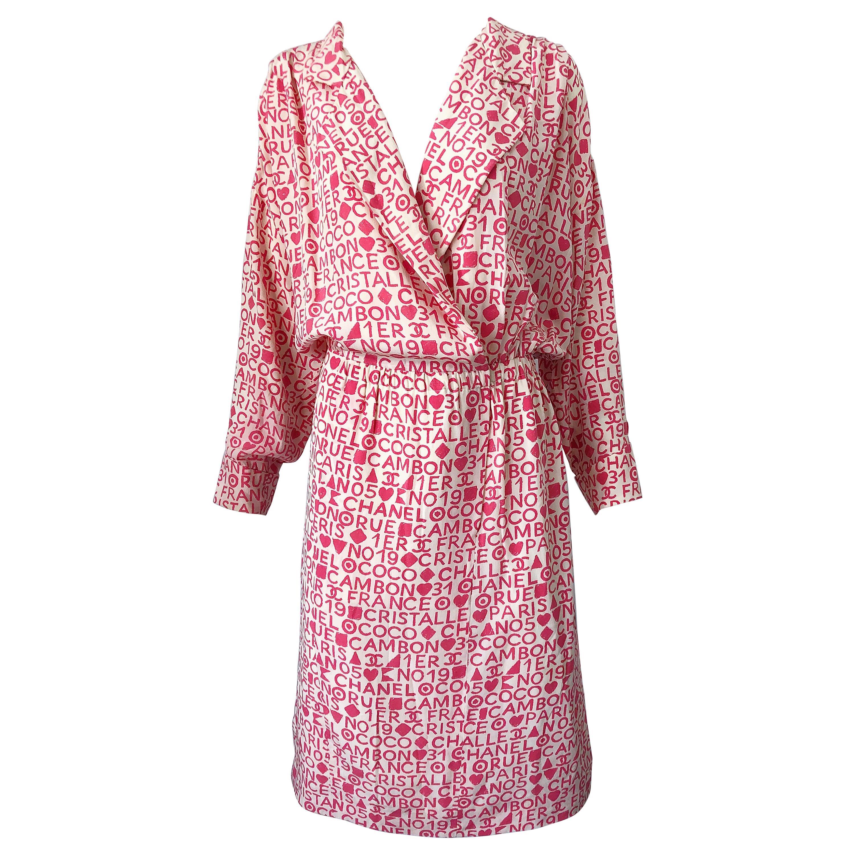 Vintage Chanel Size 44 / 14 Pink and White Logo Print 1980s Silk 80s Shirt Dress