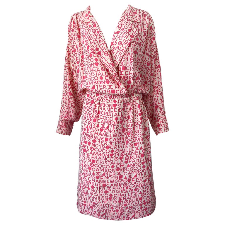 Vintage Chanel Size 44 / 14 Pink and White Logo Print 1980s Silk 80s Shirt Dress For Sale