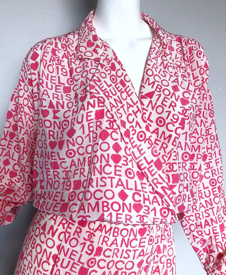 Purple Vintage Chanel Large /  Size 44 Pink White Coco 90s Logo Silk 1990s Shirt Dress For Sale