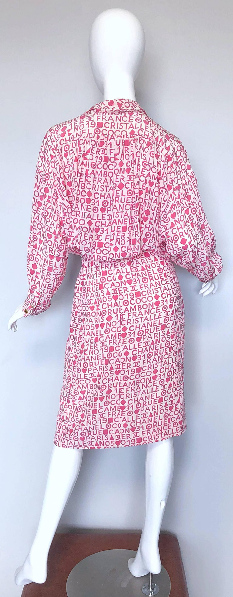 Vintage Chanel Large /  Size 44 Pink White Coco 90s Logo Silk 1990s Shirt Dress For Sale 1