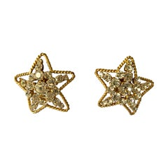 Vintage Chanel Star Diamante Statement Earrings