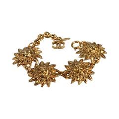 Vintage CHANEL Sun Lion Head Medallion Bracelet
