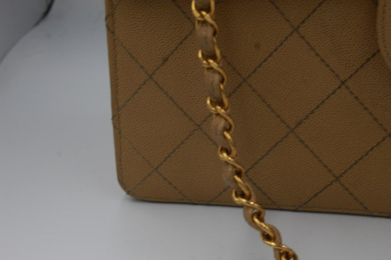 Brown Vintage Chanel Timeless  Simple flap bag in grained leather For Sale
