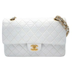 Vintage Chanel Timeless White Leather and Gold Chain