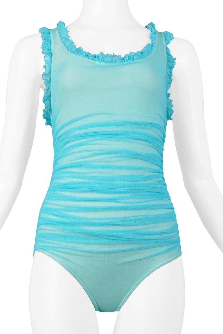 Vintage Chanel Turquoise Blue Ruched One Piece Swimsuit In Excellent Condition For Sale In Los Angeles, CA