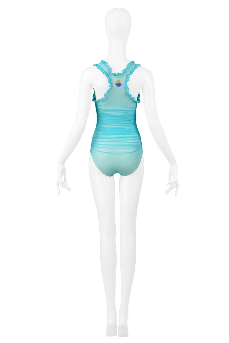 Women's Vintage Chanel Turquoise Blue Ruched One Piece Swimsuit For Sale