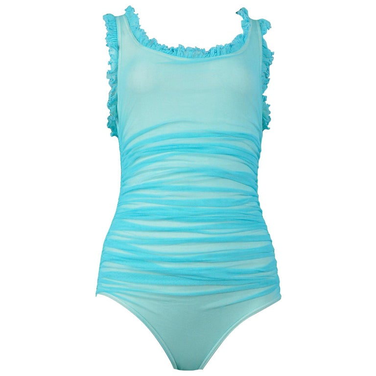 Vintage Chanel Turquoise Blue Ruched One Piece Swimsuit For Sale