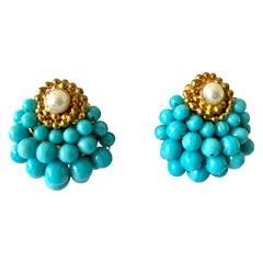 Vintage Chanel Turquoise Pearl Earrings