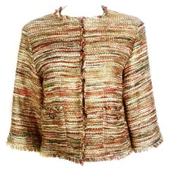 Vintage CHANEL Tweed Metallic Gold Multi Color Jacket w/ Tags Size 44