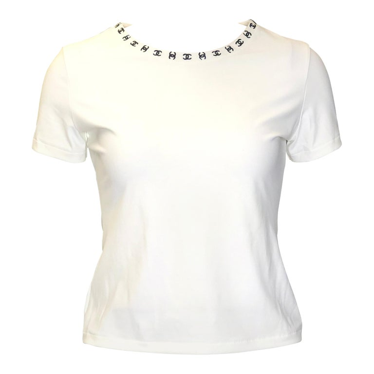 """Vintage Chanel White """"CC"""" Logo Embroidered Short Sleeves Top For Sale"""