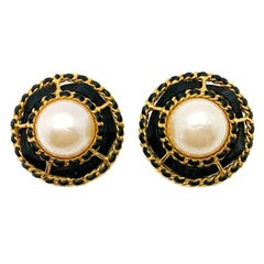 Vintage Chanel Woven Black Leather Gold & Pearl Statement Earrings 1980S