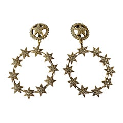 Vintage Chanel XL Star Diamante Statement Earrings