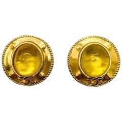 Vintage Chanel Yellow 'Pate De Verre' Gold Cc Logo Earrings 1997