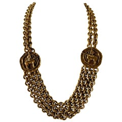 Vintage Chanel Zodiac Inspired Gilt Coin Statement Necklace
