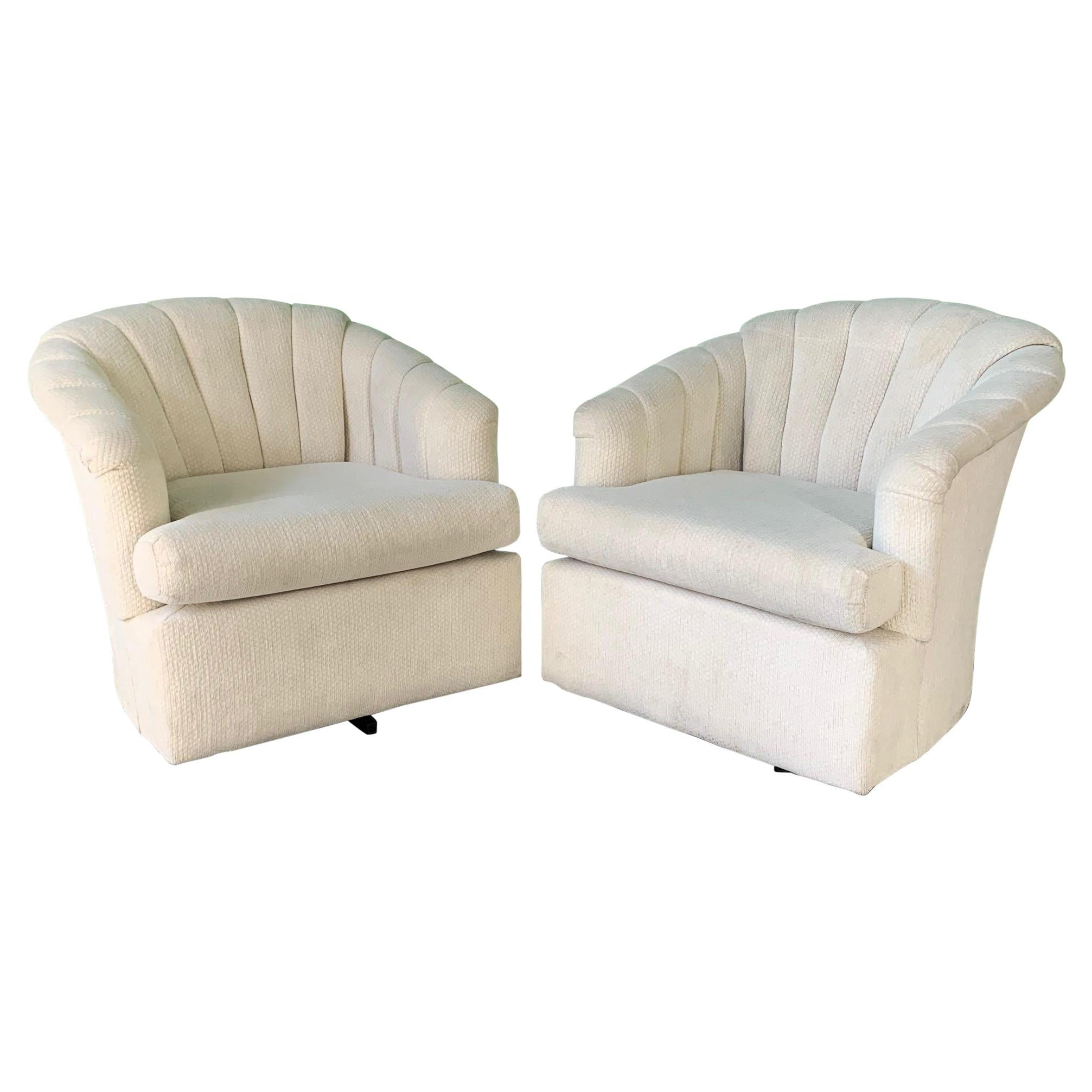 Vintage Channel Back Tufted Swivel Club Chairs, a Pair