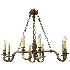 Vintage Chapman Brass Eight Light Chandelier