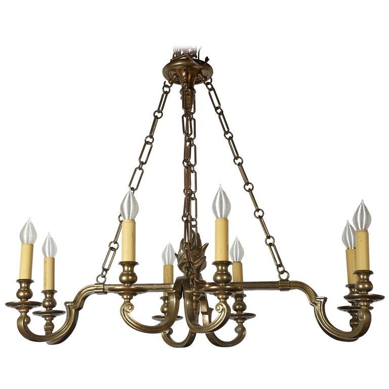 Vintage Chapman Brass Eight Light Chandelier For Sale