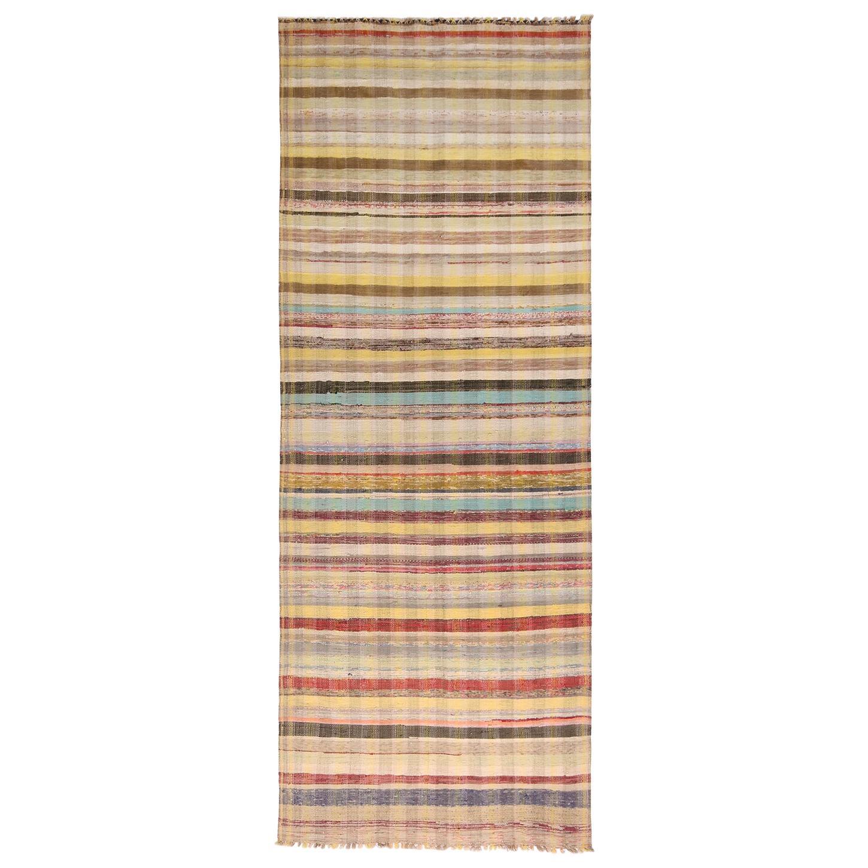 Vintage Chaput Geometric Striped Beige-Brown and Multi-Color Wool Kilim Runner