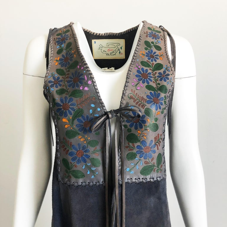 Black Vintage Char Long Suede Festival Vest or Dress Hand Painted Floral Inserts S For Sale