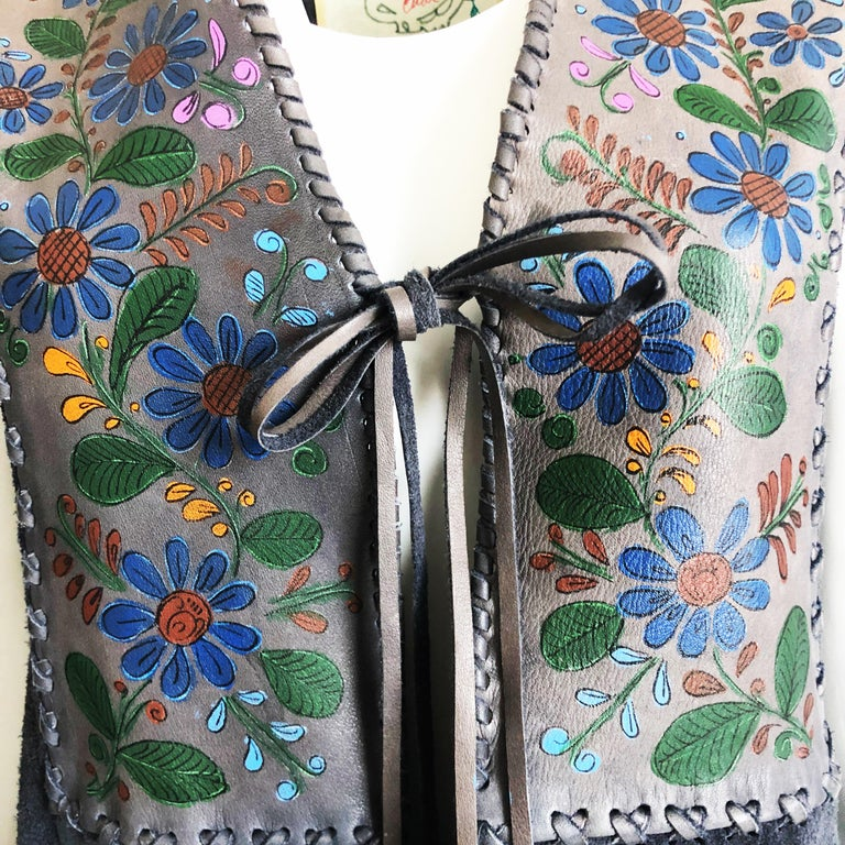 Vintage Char Long Suede Festival Vest or Dress Hand Painted Floral Inserts S In Good Condition For Sale In Port Saint Lucie, FL