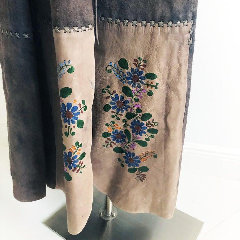 Women's or Men's Vintage Char Long Suede Festival Vest or Dress Hand Painted Floral Inserts S For Sale