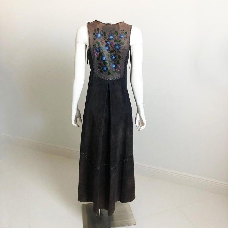 Vintage Char Long Suede Festival Vest or Dress Hand Painted Floral Inserts S For Sale 1