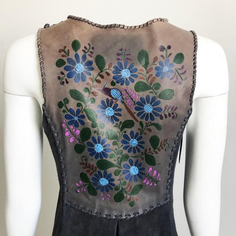 Vintage Char Long Suede Festival Vest or Dress Hand Painted Floral Inserts S For Sale 2