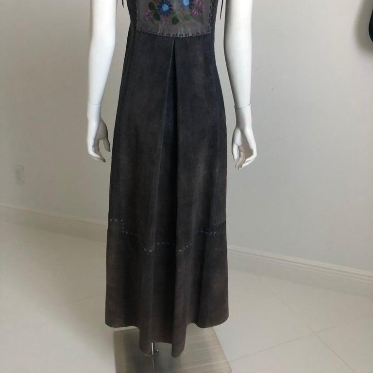 Vintage Char Long Suede Festival Vest or Dress Hand Painted Floral Inserts S For Sale 3